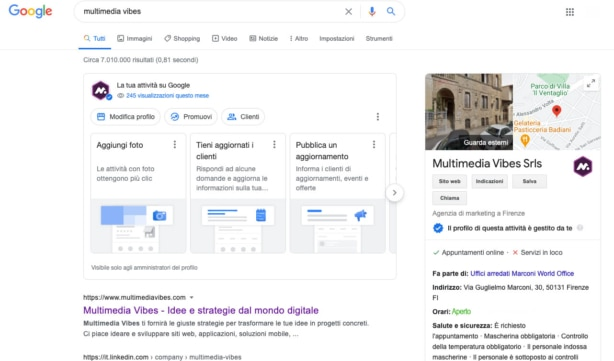 Pagina SERP Google di Multimedia Vibes